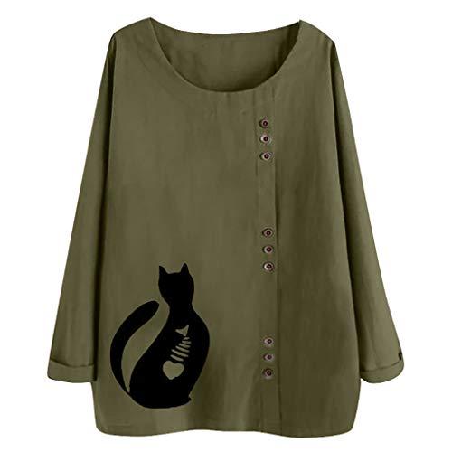 IEason - Blusa de manga larga para mujer, algodón y lino, estampado de botones Kaftan, para mujer, color verde militar