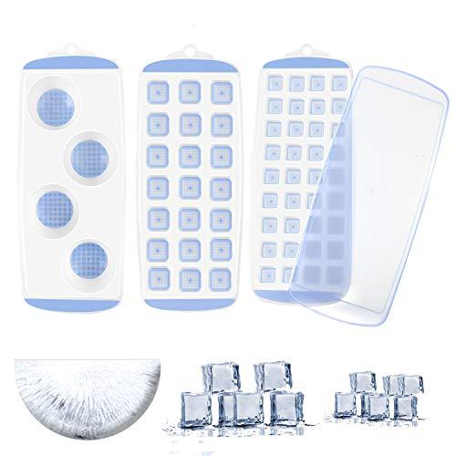 Eiswürfelform, 3 Stück Silikon Eiswuerfel Form Eiswuerfelbehaelter Mit Deckel, 5 cm Große Eiskugeln Runde Eiskugelformer, BPA Frei und stapelbar Langlebig