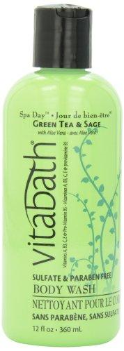 Vitabath Bath and Shower Gel, Green Tea and Sage, 12 Ounce