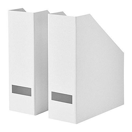 IKEA/イケア TJENA :マガジンファイル30x25x10 cm(ホワイト)【2個セット】90395417