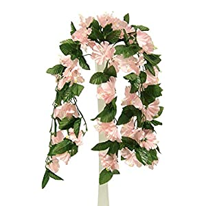 26″ Hanging Hibiscus Bush Artificial Silk Flowers Wedding Arch Centerpiece Vines (Pink)