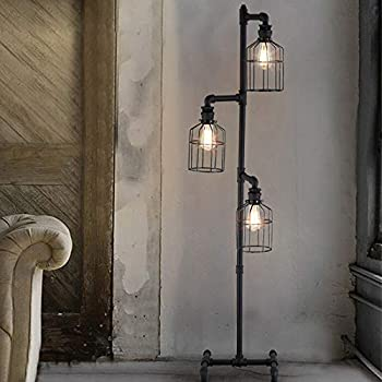 NIUYAO Industrial Style 60'' High Track Tree Floor Lamp Iron Cage 3 Lights  Pipe LED Floor Light Fixture Black 409434 - - Amazon.comAmazon.com