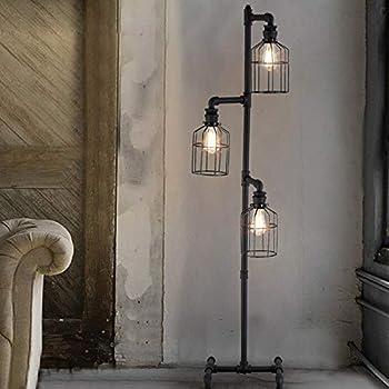 NIUYAO Industrial Style 60'' High Track Tree Floor Lamp Iron Cage 3 Lights  Pipe LED Floor Light Fixture Black 409434 - - Amazon.com Amazon.com