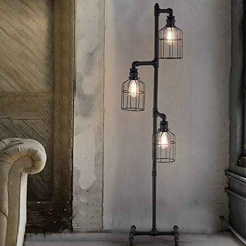 NIUYAO Floor Lamp Industrial Style 60'' High Weathered Iron Cage 3 Lights Pipe Standing Lamp LED Fixture Black