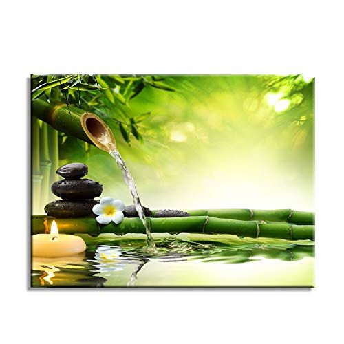 Green Spa Still Life with Bamboo Fountain and Zen Stone in Water Wall Art Painting The Picture Print On Canvas Botanical Pictures for Home Decor Decoration Gift (Green, 12161)
