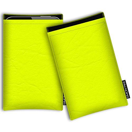 SIMON PIKE Hülle Tasche kompatibel mit Motorola Razr 5G | Schutztasche Boston in 01 Neongelb aus Kunstleder Handyhülle