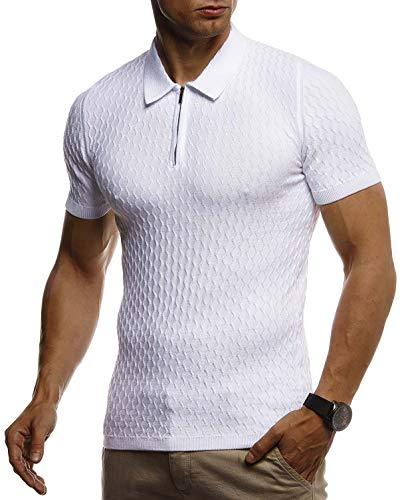 Leif Nelson Herren Sommer T-Shirt Poloshirt Slim Fit aus Feinstrick Cooles Basic Männer Polo-Shirt Crew Neck Jungen Kurzarmshirt Polo Shirt Sweater Kurzarm LN7315 Weiß X-Large
