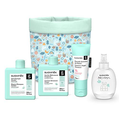 Suavinex 401313 - Suavinex, Organizador Tela Para Bebés con Baby Cologne, Loción Hidratante, Pomada Intensiva y Gel-Champú Syndet. 4 productos, Azul, niños