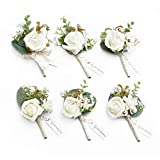Ling's moment Ivory & Greenery Eucalyptus Boutonniere for Men Wedding with Pins, Set of 6, Groom and Best Man Boutonniere for Wedding Ceremony Anniversary, Formal Dinner Party and Fall Vintage Wedding