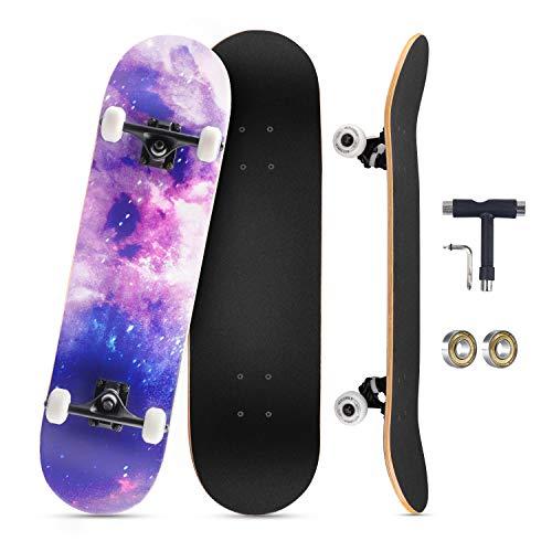 KOVEBBLE Skateboard professionale standard completo 31'x8 standard skateboard per bambini e adulti, principianti, ragazzi, ideale come regalo, in acero canadese (xingkong)