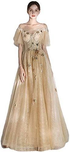 Vestido de Noche Escote Redondo Hasta el Suelo Apliques de Encaje Vestido Largo de Fiesta Vestidos Formales-As_Shown_12, LIFU