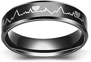 خاتم أسود من الفولاذ المقاوم للصدأ الكهربائي، خواتم بشكل نبضات القلب للرجال، مجوهرات خاتم الروك