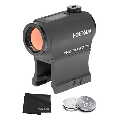HOLOSUN HE403C-GR Elite Green Dot Sight + Lithium CR2032 Coin Batteries - Qty 3 + Lens Cleaning Cloth