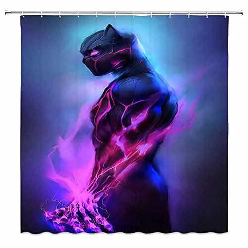 Superhero Duschvorhang Black Panther Muster Badezimmer Vorhang mit 12 Haken 152 x 183 cm lila