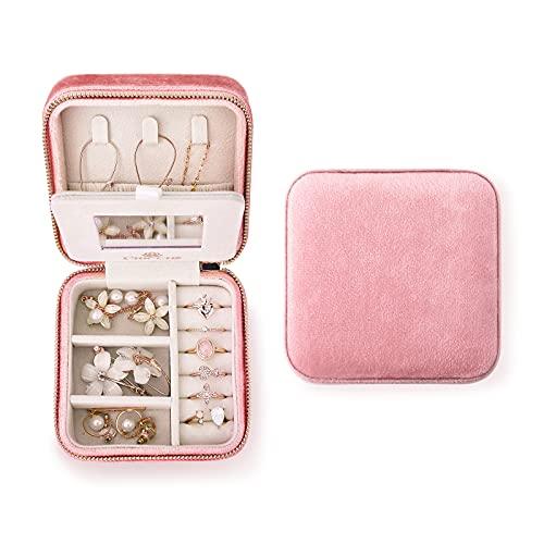 Small Jewelry Organizer Box Velvet Travel Jewelry Case with Mirror Mini Jewelry Box with Zipper Great Gifts for Girls Women