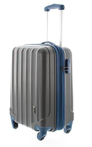 Pianeta - Hartschalenkoffer Trolley Koffer Reisegepäck Handgepäck Kabinentrolley Ibiza - 4 Räder - Erweiterbar (M (55cm), Anthrazit)
