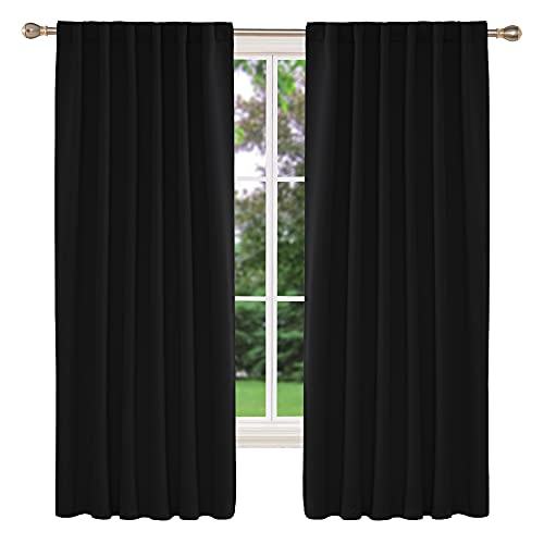 Deconovo Room Darkening Curtains Back Tab and Rod Pocket Curtains Thermal Insulated Blackout Curtains for Bedroom 52x72 Inch Black Set of 2