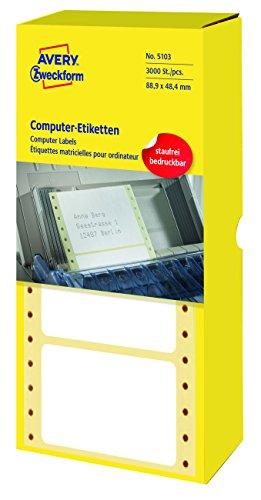 AVERY Zweckform 5103 Computer-Etiketten (Papier matt, 3,000 Etiketten, 88,9 x 48,4 mm) 1 Pack weiß