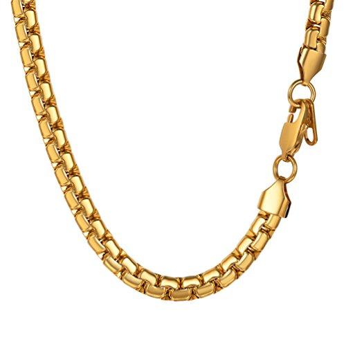PROSTEEL Herren Halskette 6mm breit massiv Erbskette 18k vergoldet 51cm/22 Platte Venezianierkette Gliederkette Biker Punk Rock Schmuck für Männer Jungen, Gold