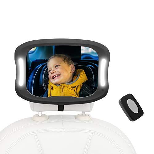 Bebé Coche Espejo Espejo para Coche para Bebé Espejo Acrílico Inastillable de Seguridad LED para Coche Espejo Retrovisor Giratorio 360 Grados con Control Remoto
