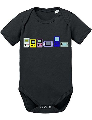 Game Evolution Boy 16-Bit SNES Mario super Kart 8-bit Yoshi Baby Strampler Body, Größe:56;Farbe:Schwarz