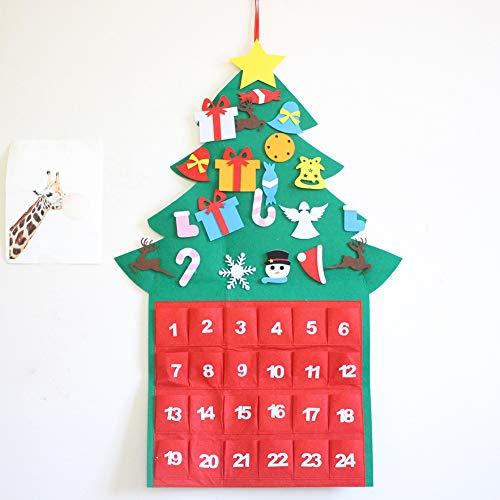 Catkoo Decoraciones De Fiesta De Año Nuevo De Navidad, Calendario De Adviento De Cuenta Regresiva De árbol De Navidad Adorno De Pared Decoración De Navidad