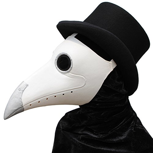 PartyHop White Rubber Plague Doctor Mask, Halloween Long Nose Bird Beek Steampunk Gas Latex Face Mask, Party Cosplay Costume Prop for Kids and Adult