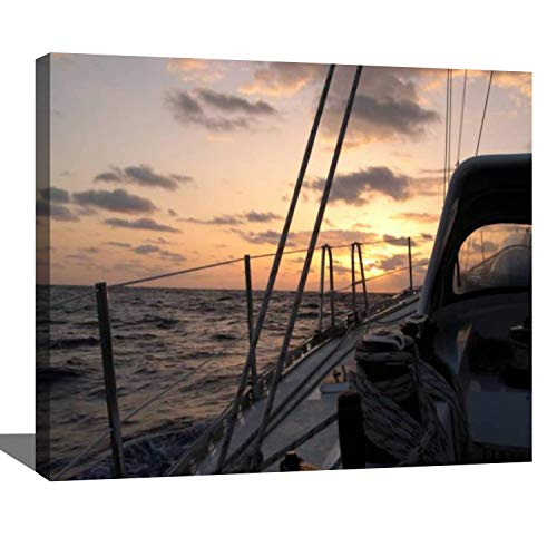 DIY Digital Oil Painting Set On a Sailboat in The Atlantic Ocean The Crossing time from The Paint by Numbers Kits for Adult Beginner Children Wooden Frame Art Craft for Home Wall Decor-16x20