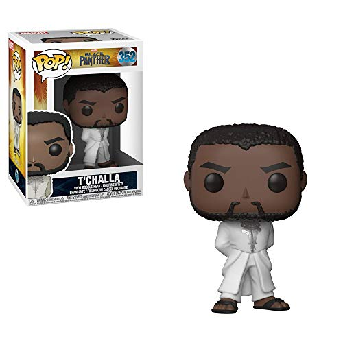 Funko 31287 Pop Bobble: Marvel: Black Panther: TChalla Robe (Blanco), Multi