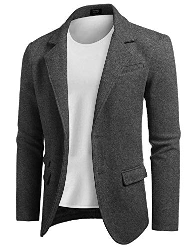 COOFANDY Men's Slim Fit Tweed Suit Blazer Jacket Two Button Casual Sport Coat Gray