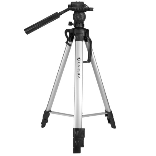 BARSKA Deluxe Tripod Extendable to 63.4' w/ Carrying Case , Gray/Black
