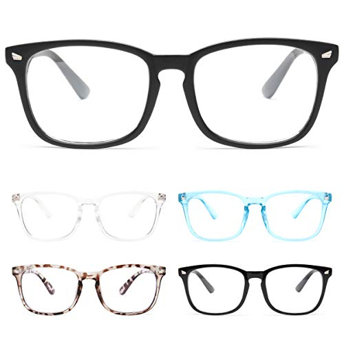 CHEERS 5-Pack Reading Glasses Blue Light Blocking,Computer Readers for Men Women Anti Glare UV Ray Filter Eyeglasses (5 Pack Mix Colors, 1.0)