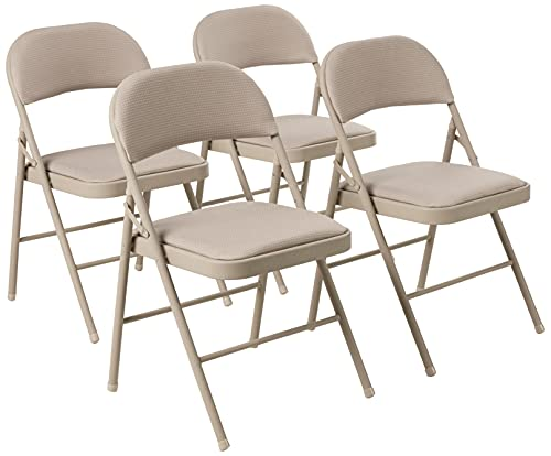 Cosco Fabric Folding Chair, 4 Pack, Antique Linen