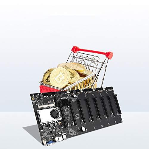 BTC-37 Mining Machine Mainboards, Bitcoin Motherboard CPU Adapter Zubehör Set, 8 Grafik Karte Stecker DDR3 Speicher(1600/1333/1066), HM-77 Chip, 8 PCIE16X-Erweiterungsports