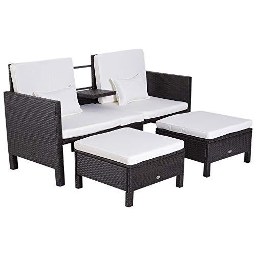 Outsunny 3-TLG. Gartensofa Gartenmöbel Lounge Gartenset Sitzgruppe Rattenmöbel Braun Polyrattan + Metall 2er-Sofa 2 x Hocker Kissen
