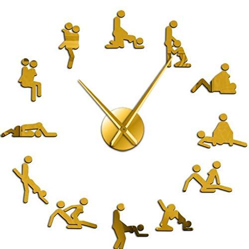 LAANYMEI Reloj de Pared Redondo DIY Giant Giant Wall Reloj DE Reloj DE LA Pared Decoración de la Pared Las Posiciones Hardcore Hombre Hombre Hombre Mujer (Color : Gold, Sheet Size : 47inch)