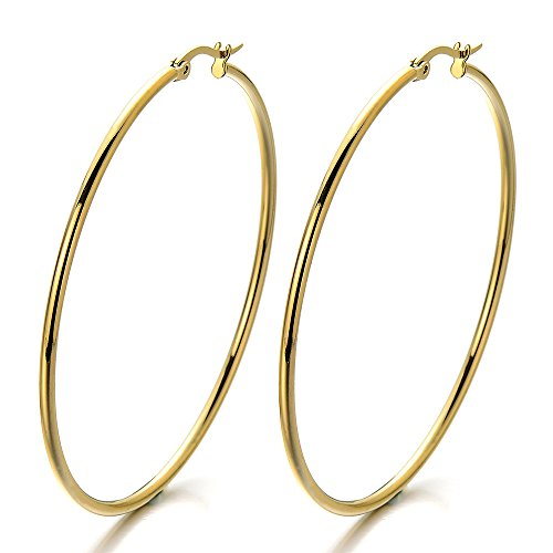 2 Grande Oro Llanura Círculo Pendientes del Aro, Pendientes para Mujer Niñas, Acero Inoxidable