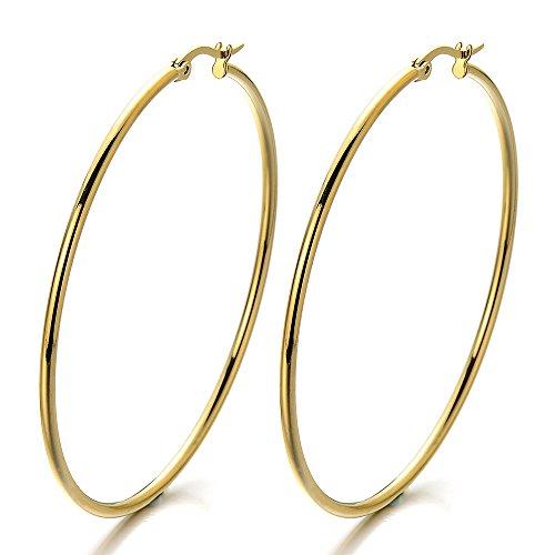 Paar GroBe Gold Glatte Kreis Creolen fur Damen, Edelstahl Huggie Ohrringe Madchen