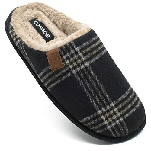 COFACE Zapatillas de Estar en Casa Hombre Tartán Invierno Cálido Forro de Felpa Pantuflas Alta Densidad Espuma de Memoria Zapatos con Antideslizante Suela Tallas 43