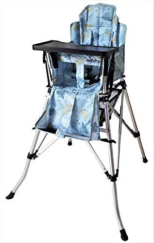One2Stay Comfort, Opvouwbare Kinderstoel met een comfortabel verstelbare rugleuning, 5 punts veiligheidsgordel en afneembaar eetblad-Feather-Blue (combiset)