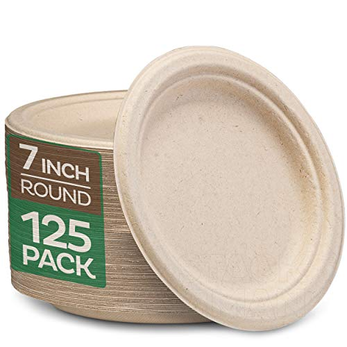 """100% Compostable 7 Inch Paper Plates [125-Pack] Heavy-Duty Plate, Natural Disposable Bagasse Plate, Eco-Friendly Made of Sugarcane Fibers-Natural Unbleached Brown 7"""" Biodegradable Plate by Stack Man"""