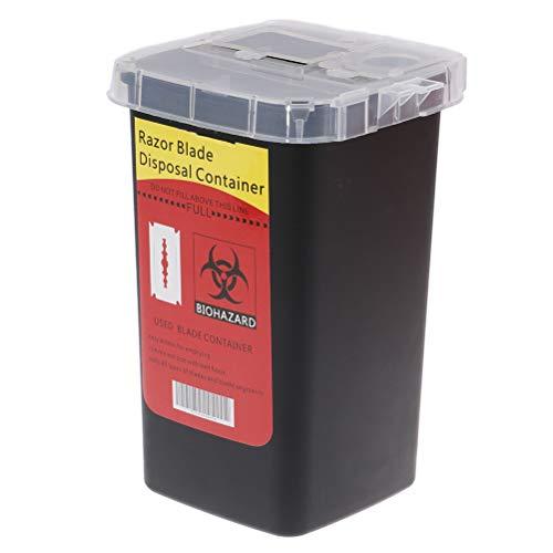 Mcree Disposal Blade Container Portable Sharps Container Barber Razor Blade Disposal Collect Box(Black)