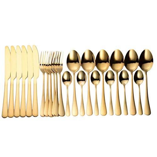 FVGBHN Juego de cubiertos 24 piezas cuchara tenedor cuchillo, acero inoxidable cocina cena conjunto de vajilla conjunto de vajilla caja de regalo, 6 juegos de oro