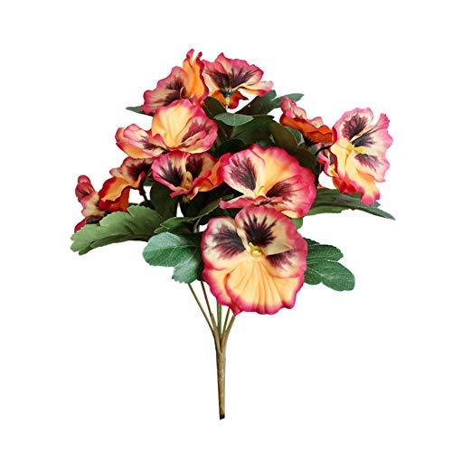 GRASARY Künstliche Blumen, 1Pc Künstliche Blume Stiefmütterchen Garten DIY Stage Party Home Hochzeit Handwerk Dekoration Orange Gelb