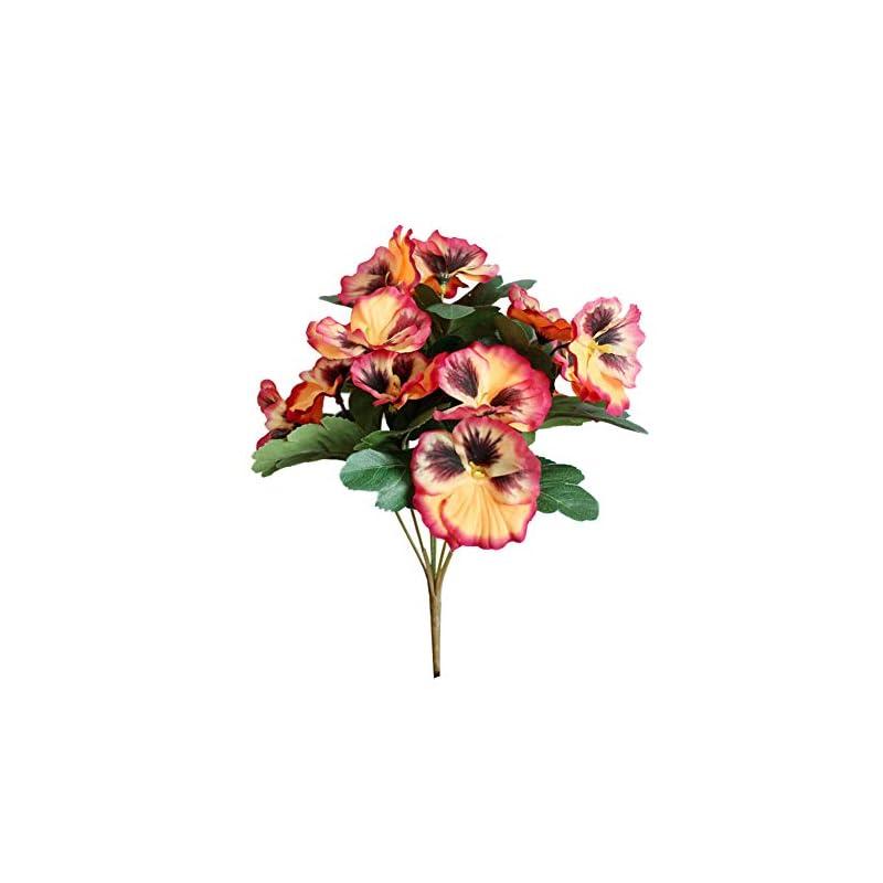 silk flower arrangements 1pc artificial flower pansy garden diy wedding stage office room craft decoration orange yellow