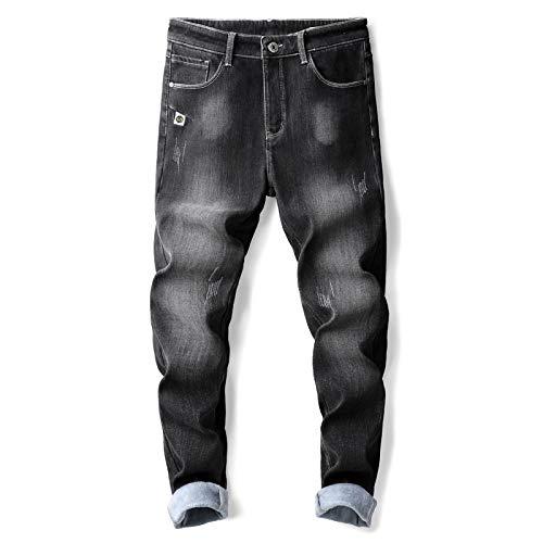 ShFhhwrl Vaqueros de Moda clásica Otoño Invierno Pantalones Vaqueros Térmicos para Hombres De Moda Coreano Más Terciopelo Juvenil