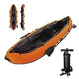Bewinch Kayak Hinchable 2 Asientos,330×94CM Bote Piragua Hinchable Equipado con Una Bomba De Aire Manual Y Un Par De Paletas De 2,18M La Capacidad De Carga Máxima Es De 200 Kg.