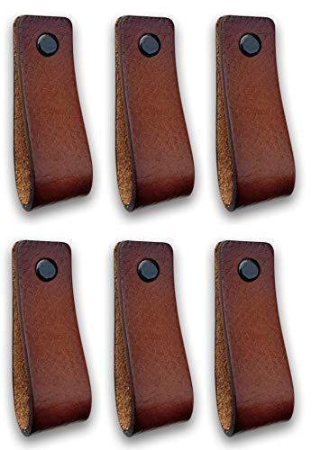 Tiradores de Cuero | Coñac / 6 piezas | 16,5 x 2,5 cm | Piel de Granos | 3 tornillos de color - tiradores para Accesorio de Mobilario, armario, cajón, puerta