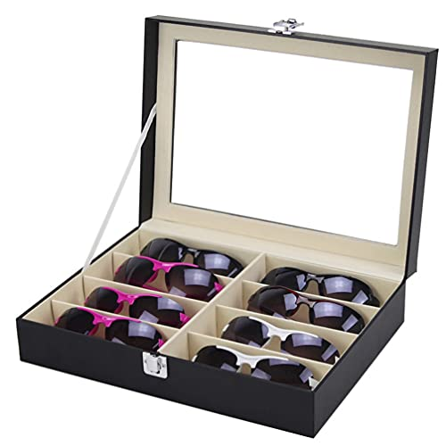 TOYANDONA Organizador de Gafas de Funda de Gafas de Cuero PU Estuche de Exhibición de Gafas Caja de Almacenamiento con 8 Ranuras Soporte de Colección de Joyas