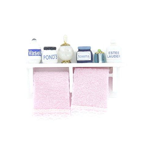 Unbekannt 1/12 Puppenhaus Miniatur Badezimmer Holz Hand Rack Dusche Zubehör Rack Weiß
